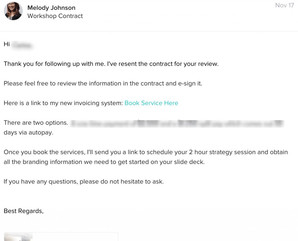 Honeybook email